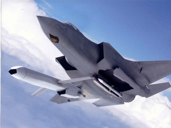 Conceito do F-35A lançando o míssil JSM