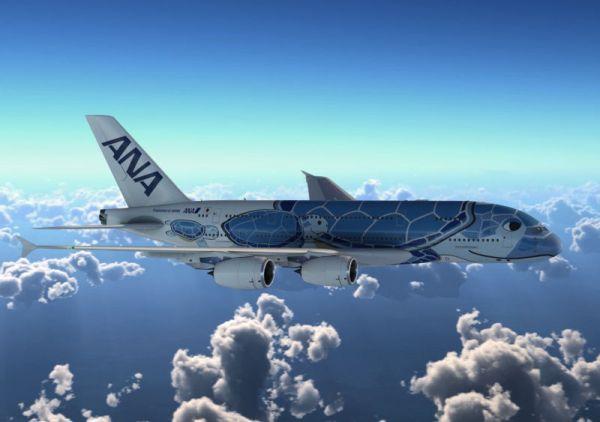 """A380 ANA  special livery 600x422 - IMAGENS: ANA apresenta sua especial pintura """"Flying Honu"""" para o Airbus A380"""