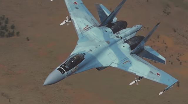 Su 35 Syria flight - Caças russos Su-35S teriam afastado jatos F-16 turcos sobre o espaço aéreo da Síria