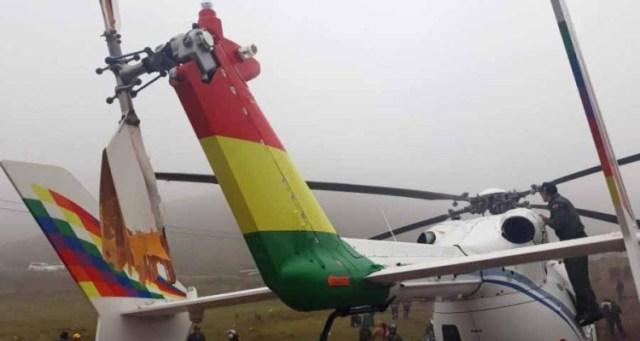 Incid  EC 145 Evo Morales 2019 11 04 - VÍDEO: Helicóptero EC145, com o presidente boliviano a bordo, sofre pane e faz pouso de emergência