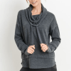 Mineral Wash Cowl Neck Pullover – Front Grey