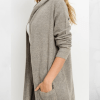 Open Fron Longline Hoodie Cardigan with Jersey Stitch Closeup