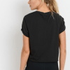 Supima® Cotton Crop Top with Short Tulip Sleeves - Back Black