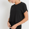 Supima® Cotton Crop Top with Short Tulip Sleeves - Side Black