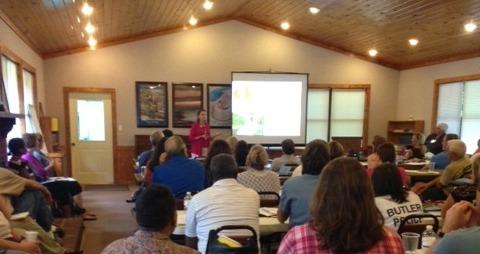Executive Director Kellie Johnston makes Natural Resource presentation at the Your Town Alabama workshop on September 8, 2014.
