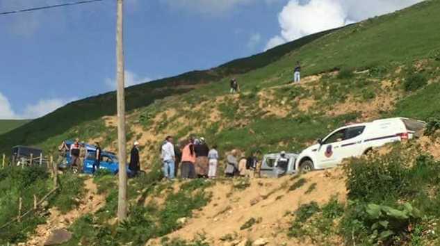 Çaykara Çayıroba (köyü) Mahallesinde kaza yeri görüntüsü