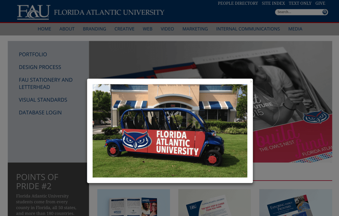 University environmental design goes way beyond architecture! Consider vehicle wraps like this one.