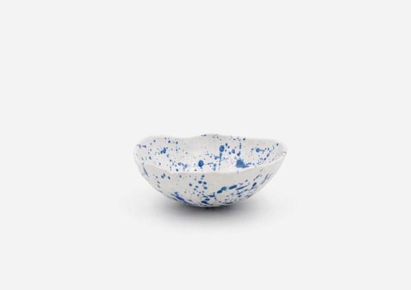 Bowl a Mano Liso. Blanco Dalmata Azul. (S)