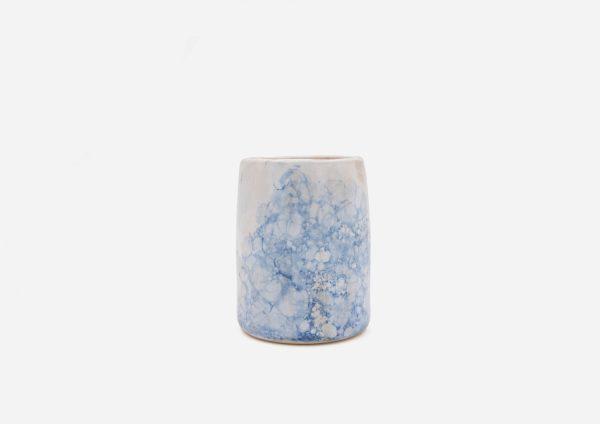 Vaso Delgado. Blanco Burbujas Azul Oscuro. (S)