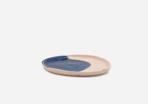 Plato Vajilla Litio. Mancha Azul Cobalto. (Xs)