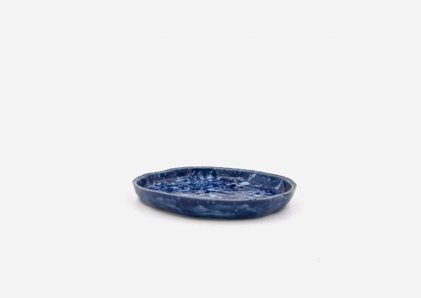 Plato Vajilla Litio. Azul Cobalto Dalamata Blanco. (Xs)