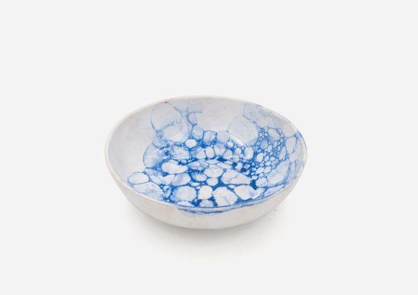 Plato Vajilla Aragón. Blanco Burbujas Azul Oscuro. (Sopa S)