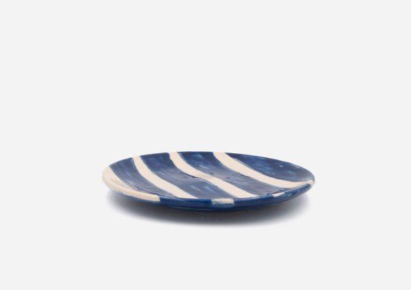 Plato Vajilla Platino. Rayas Azul Cobalto. (S)