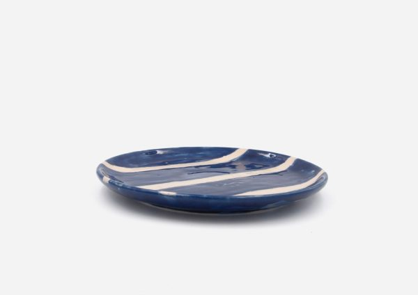 Plato Vajilla Platino. Rayas Azul Cobalto. (M)