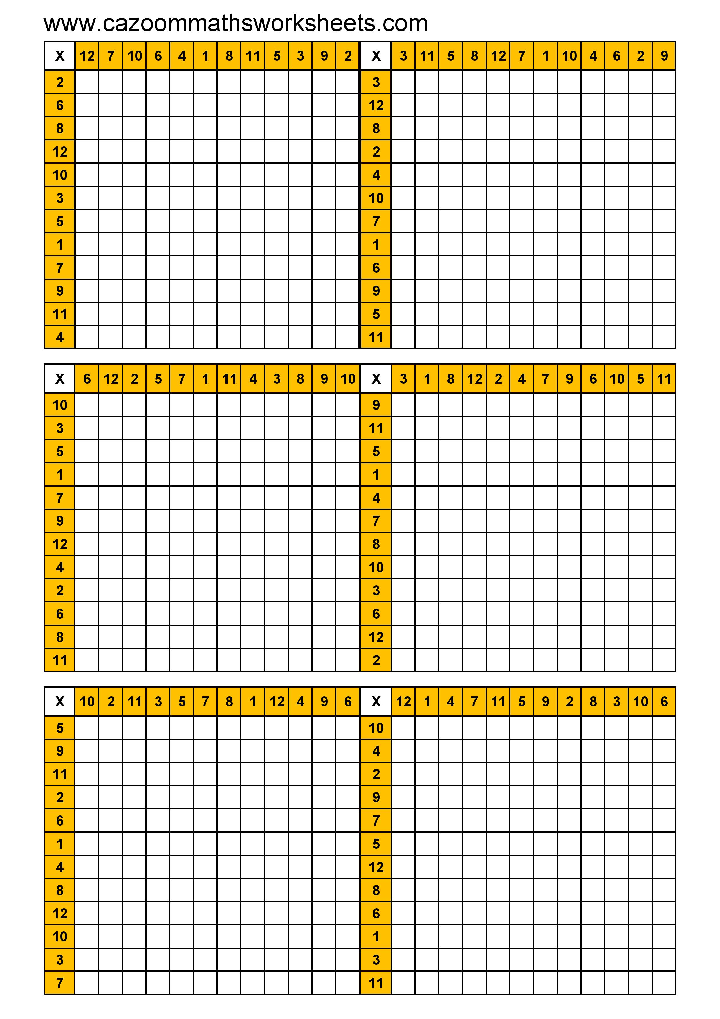 Worksheet Multiplication Table Worksheet Blank Grass