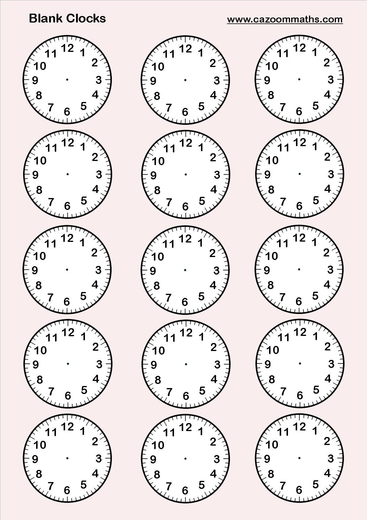 O Clock Worksheet