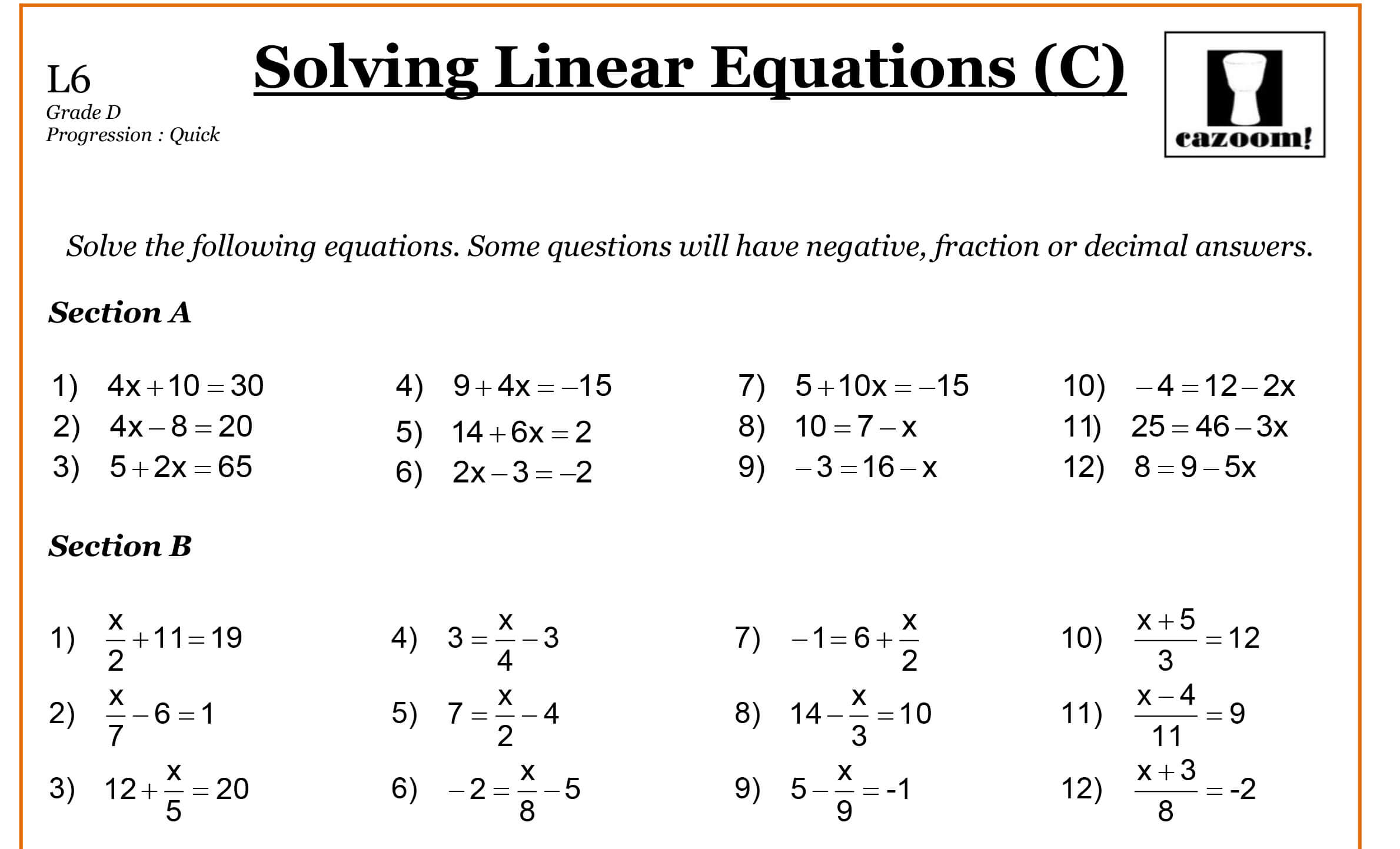 Linear Equation Worksheet Year 8
