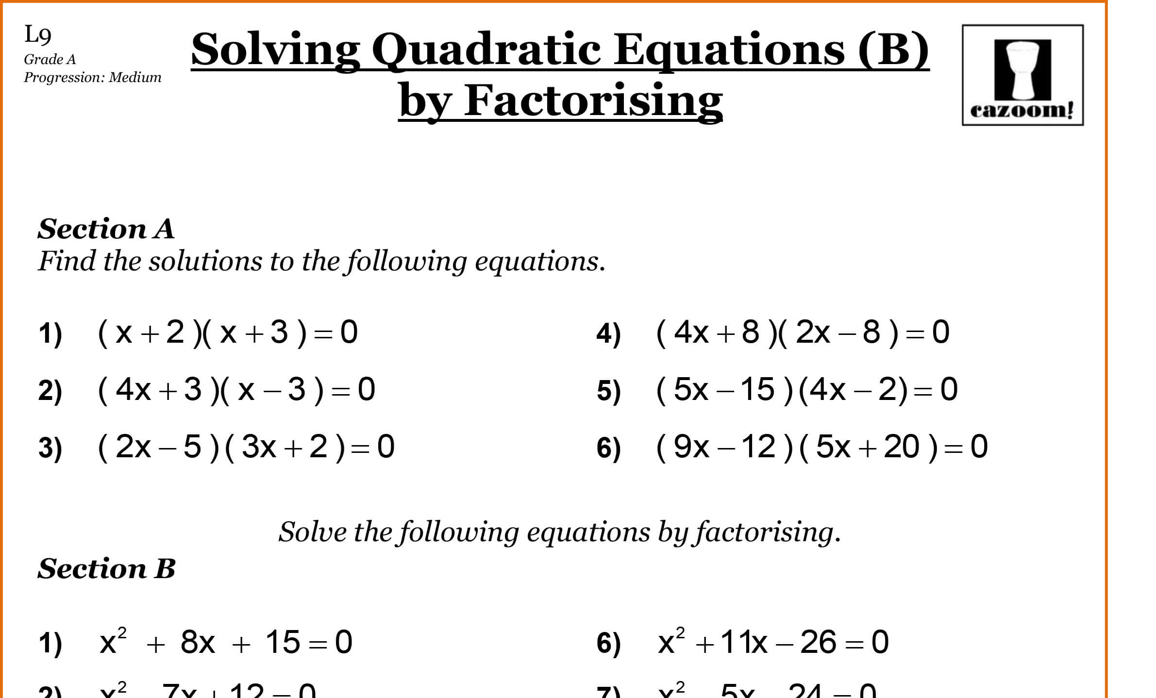 Quadratic Equation Practice Questions Gcse