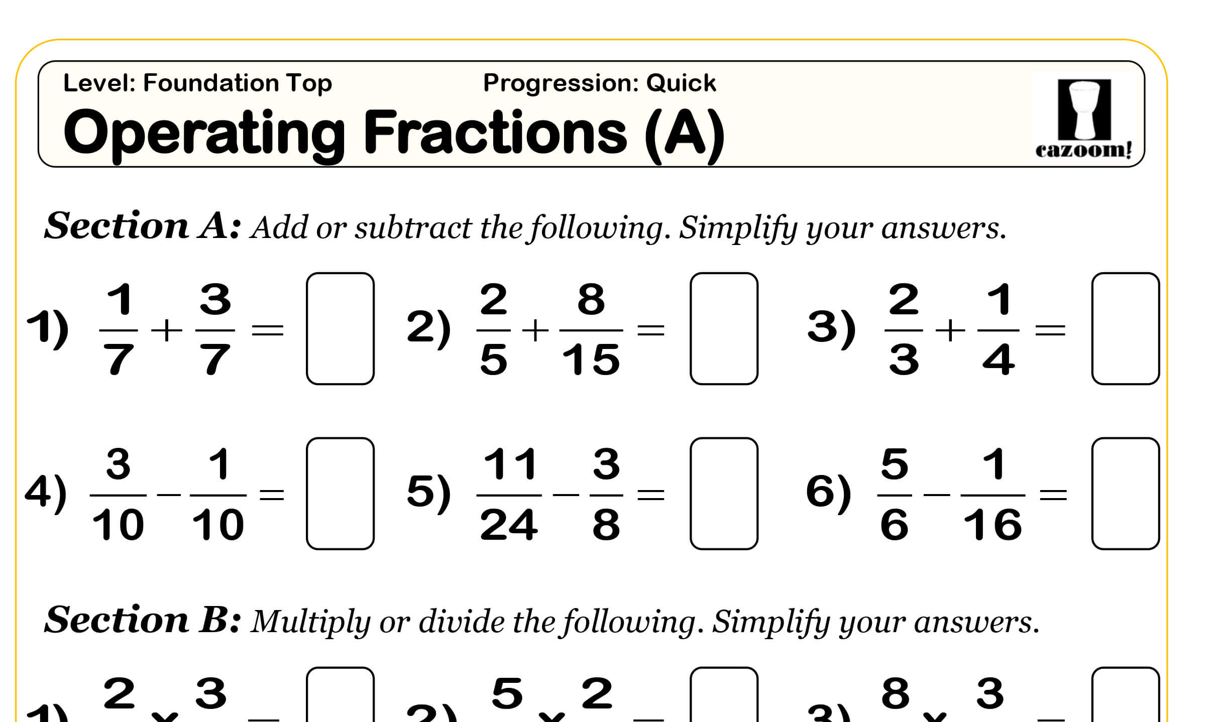 Multiplying Fractions Worksheet Year 8