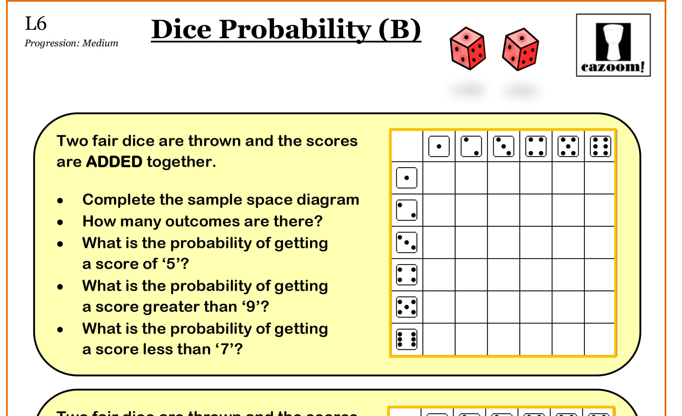 Blank Dice Worksheet