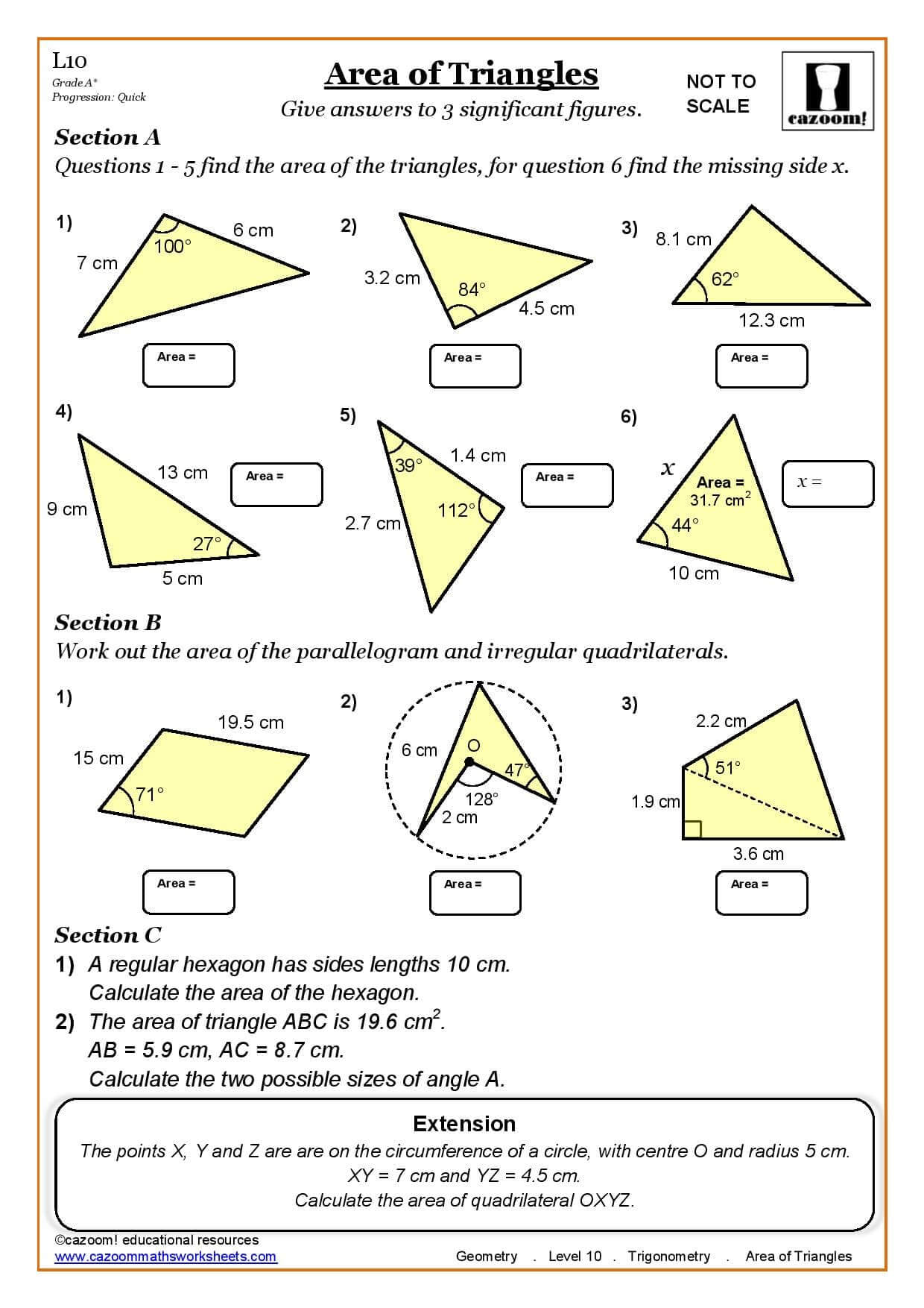 Trig Ratios Worksheet Key