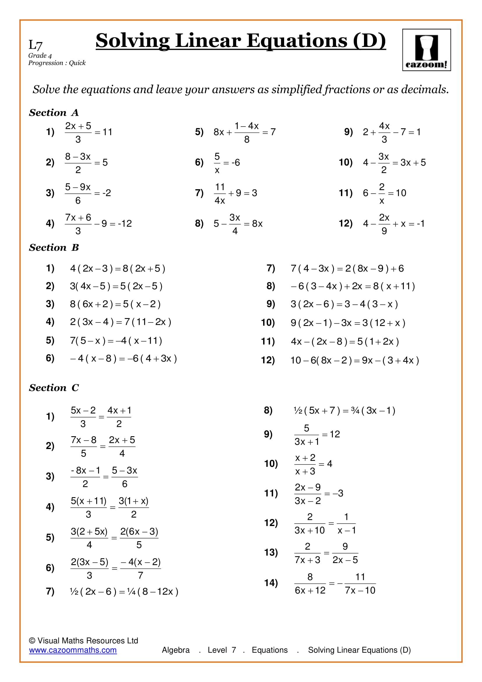 Solving Equations With Fractions Worksheet Grade 9