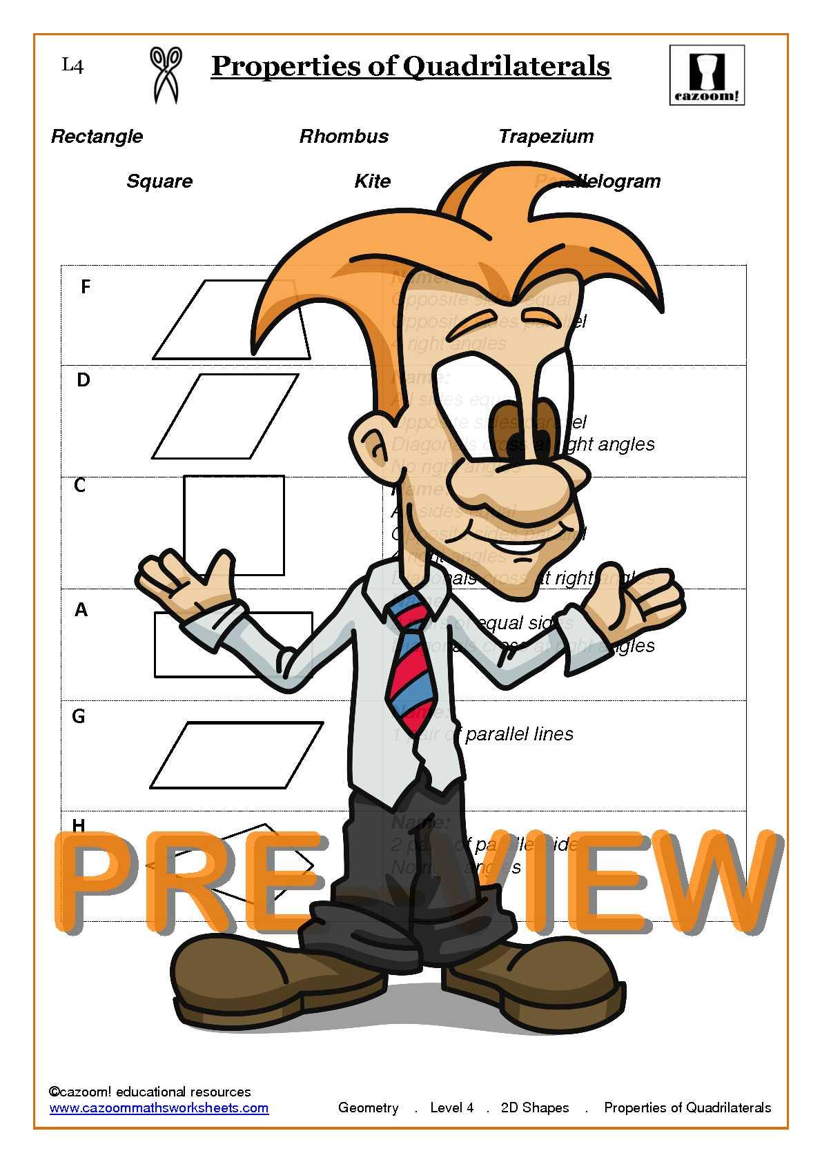 Printable 2d Shapes Worksheets