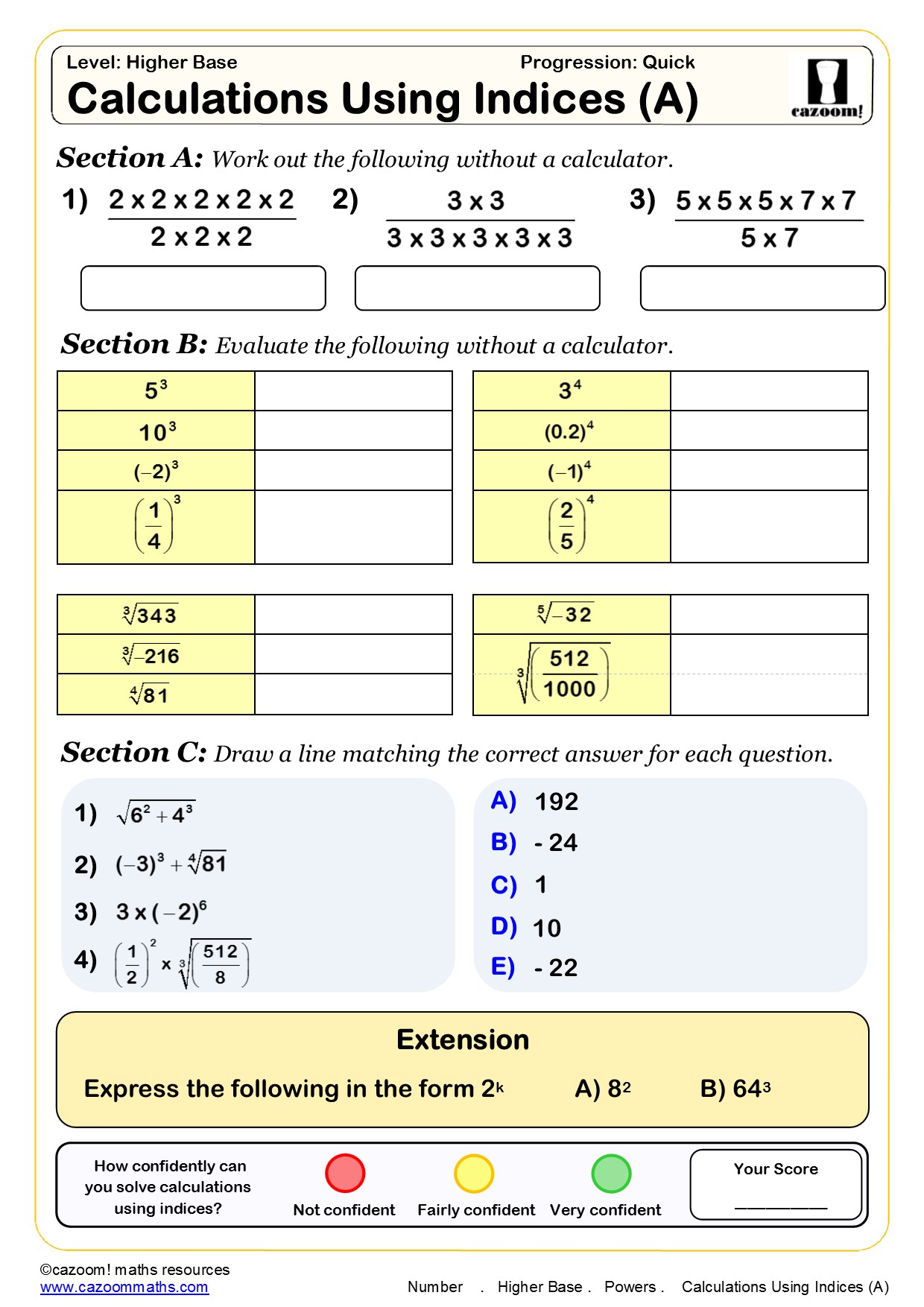 Index Notation Worksheet Year 7