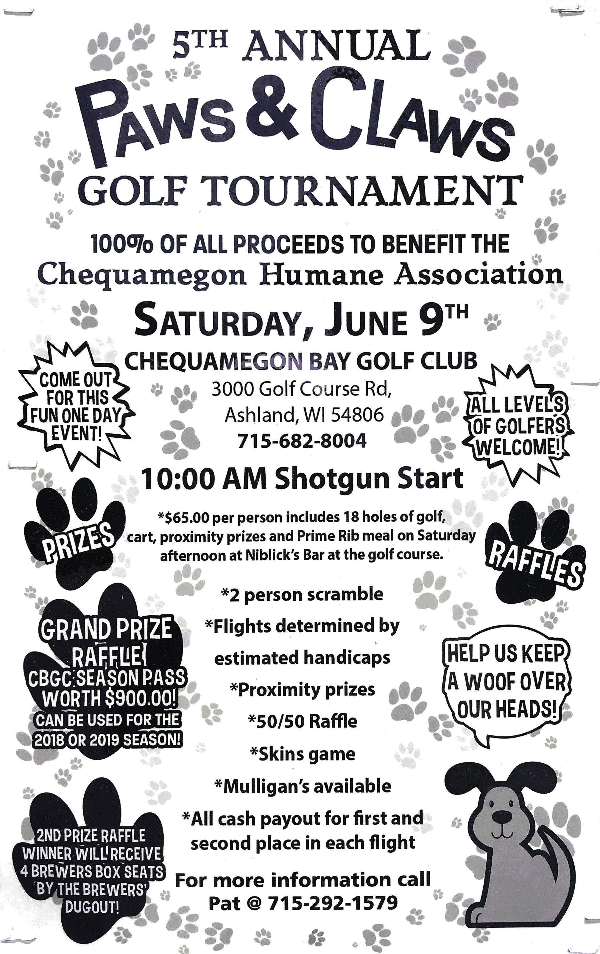 Paws & Claws Golf Scramble - Chequamegon Bay Golf Club