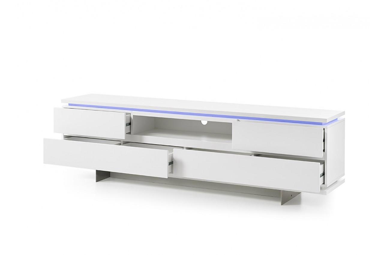 meuble tv design blanc laque mat et