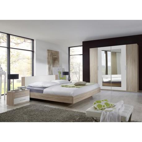 chambre adulte complete chene clair et blanc cbc meubles