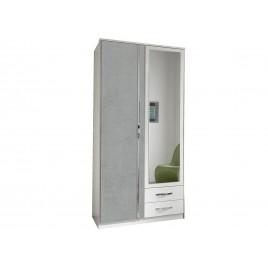 armoire blanche et beton gris clair 2 portes et 2 tiroirs 90 cm