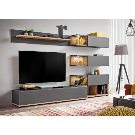 ensemble meuble tv mural anthracite et bois cbc meubles