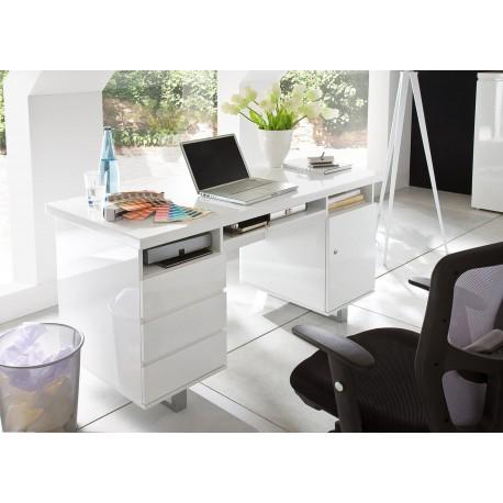 bureau blanc laque 3 tiroirs 3 compartiments et 1 porte cbc meubles