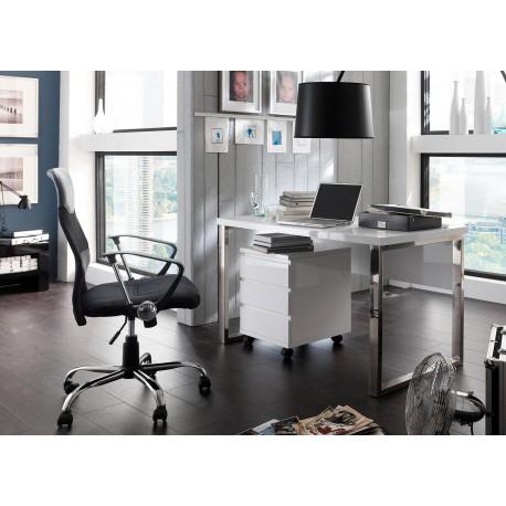 bureau blanc laque et pied chrome avec caisson cbc meubles
