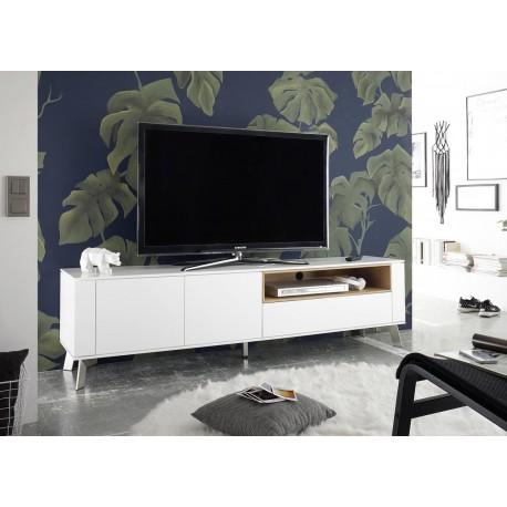 meuble tv blanc laque mat et bois 180 cm cbc meubles