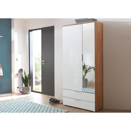 armoire rangement entree bois et verre blanc avec miroir cbc meubles