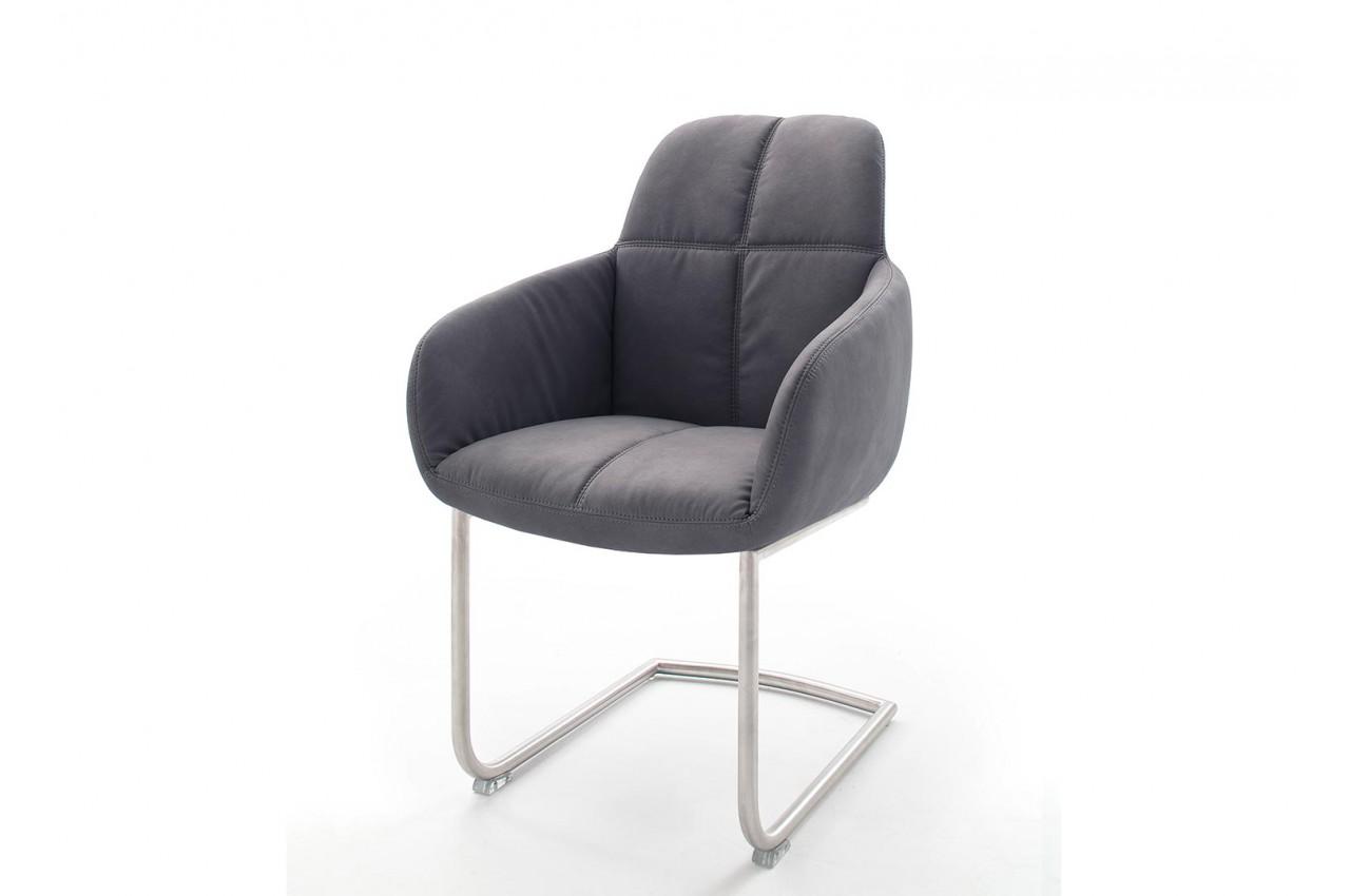 Chaise Avec Accoudoir Grise Et Pieds Mtal Cbc Meubles
