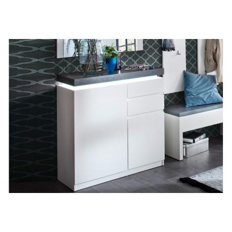 meuble rangement entree blanc et gris cbc meubles