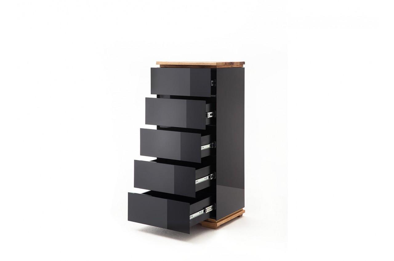 noir brillant et bois massif 5 tiroirs
