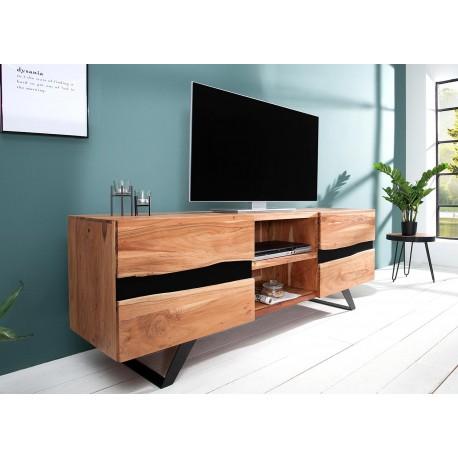 meuble tv acacia massif et metal 160 cm cbc meubles