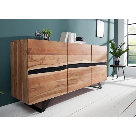 buffet acacia massif et pieds metal 150 cm cbc meubles