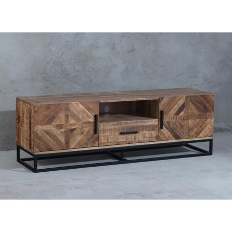 meuble tv 160 cm design industriel bois de manguier cbc meubles