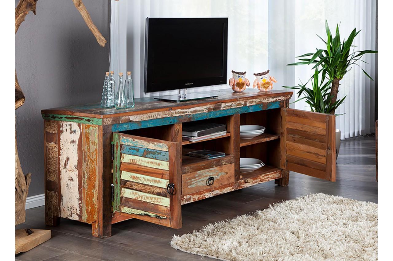 meuble tv en bois massif recycle colore