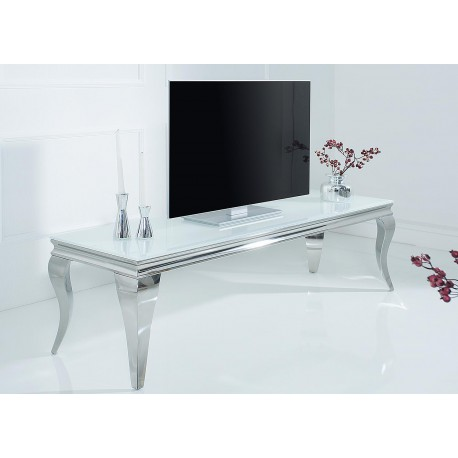 meuble tv baroque verre opale blanc et pied en acier poli 160 cm cbc meubles