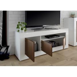 meuble tv blanc laque et noyer 3 portes 138 cm