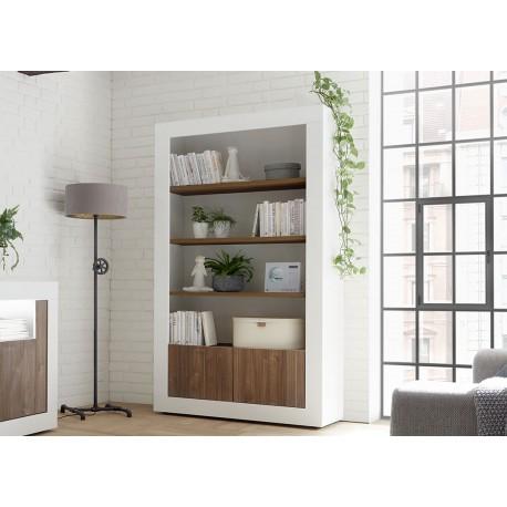 bibliotheque meuble etagere blanc laque et noyer 190 cm cbc meubles