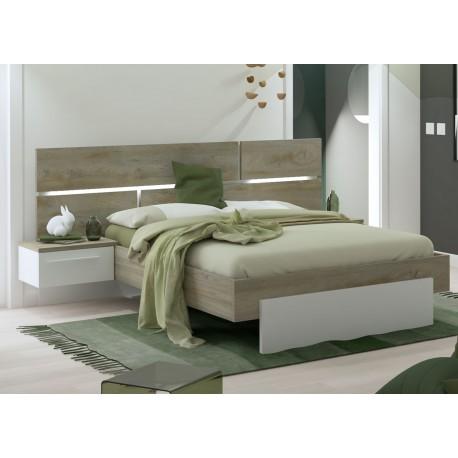 lit 140x190 cm blanc laque mat et bois avec chevets suspendus cbc meubles