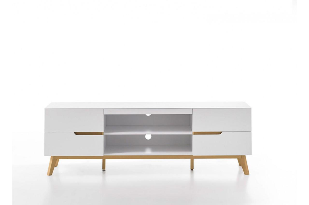 meuble tv blanc et bois 4 tiroirs 169