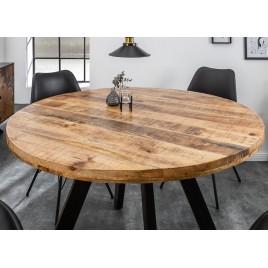 table de salle a manger ronde bois massif manguier et pied metal